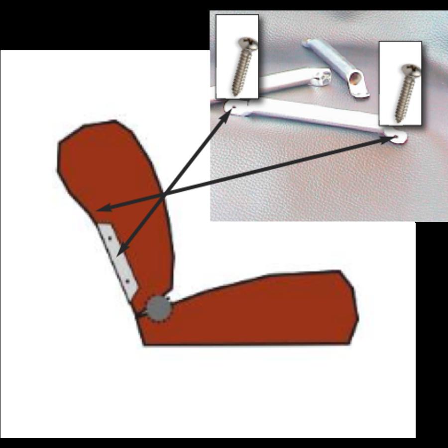 Side socket [2x] for insertion of wide head rest chromed metal Citroën ID/DS-2