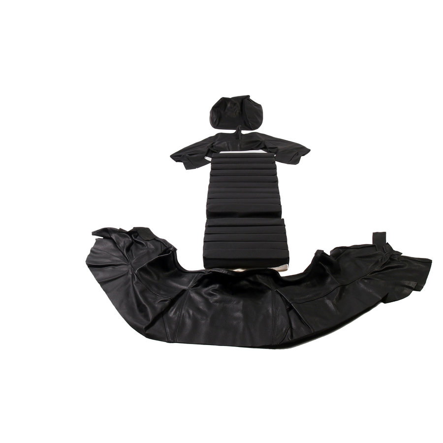 Original front seat cover black leather (seat back closing panel and head rest cover) Citroën SM-3
