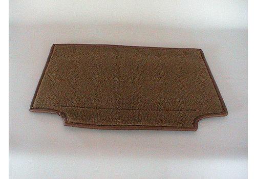 Peça de carpete cor marrom fixada na parte posterior do banco dianteiro Citroën SM