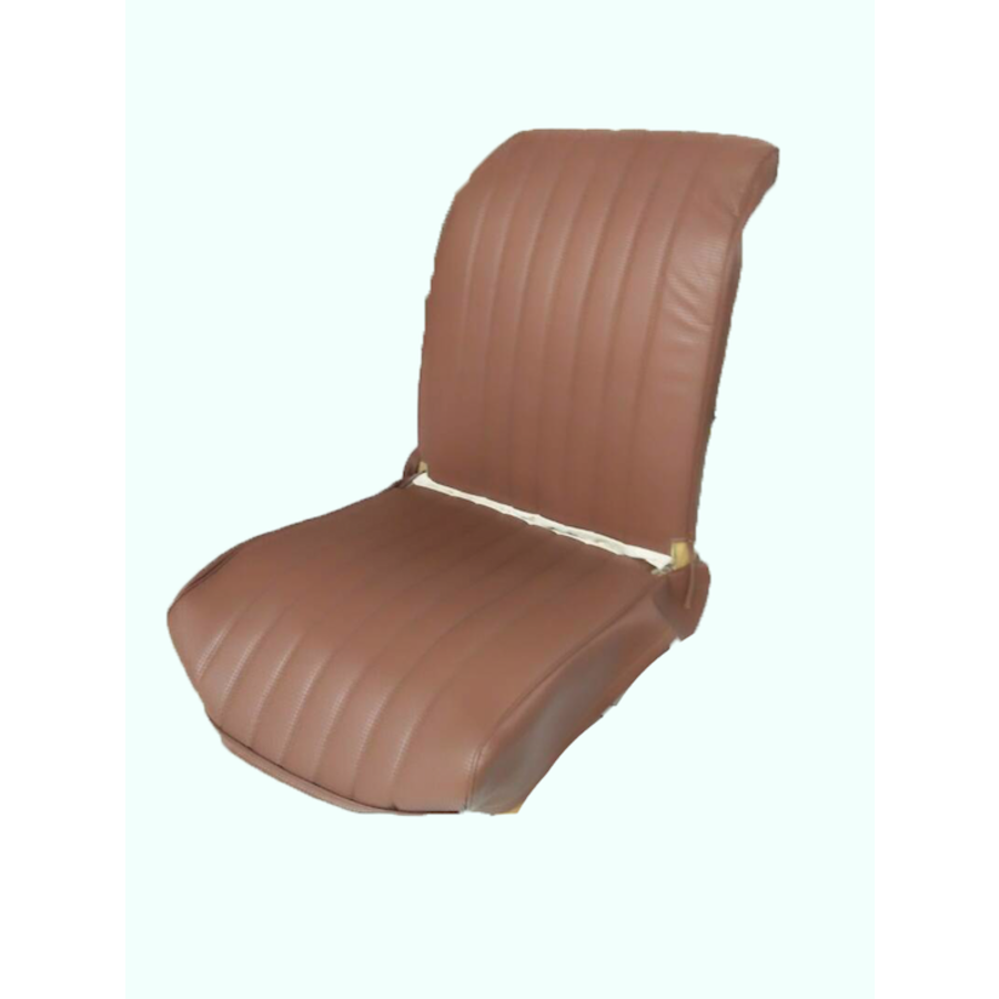 Original seat cover set for front L seat in brown leatherette (2 round angles) Dyane Citroën 2CV-5