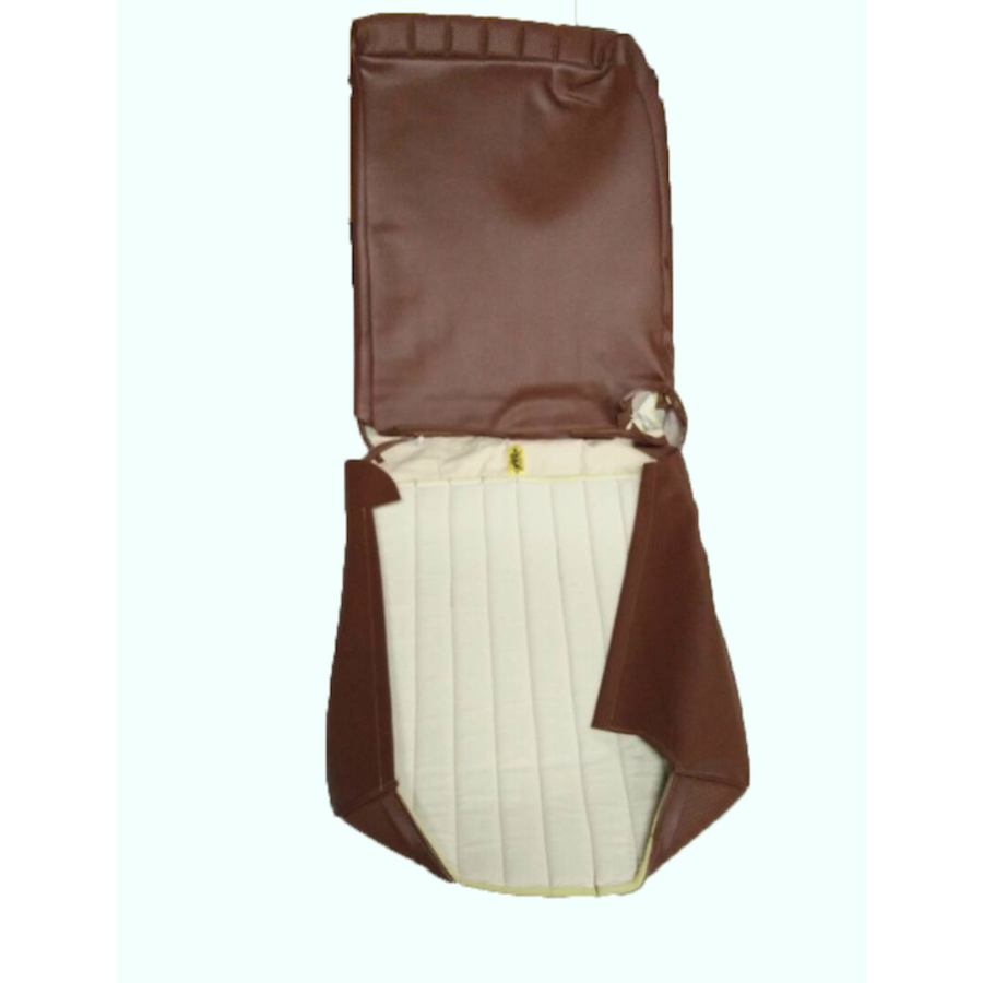 Original seat cover set for front L seat in brown leatherette (1 round angle) DYANE Citroën 2CV-1