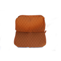 thumb-Original seat cover set for rear bench in gold color cloth Charleston Citroën 2CV-1