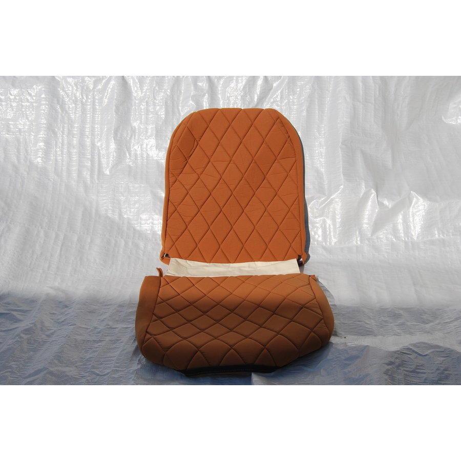 Original seat cover set for front R seat (2 round angles) in gold color cloth Charleston Citroën 2CV-1