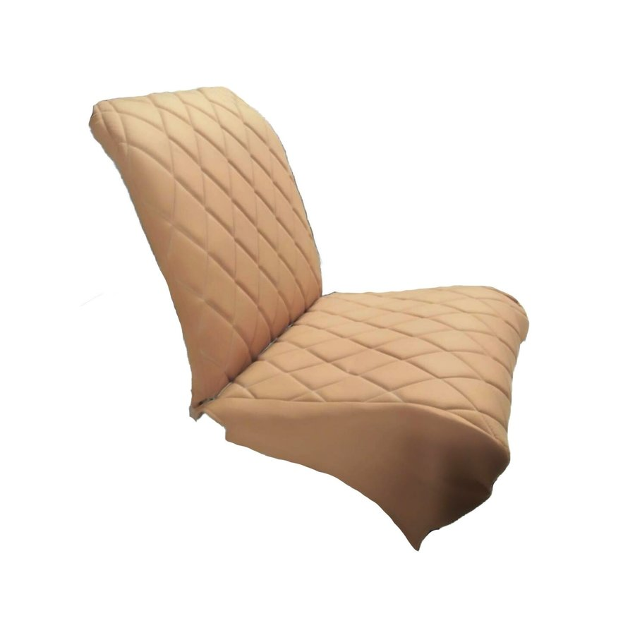 Original seat cover set for front L seat (2 round angles) in gold color cloth Charleston Citroën 2CV-1