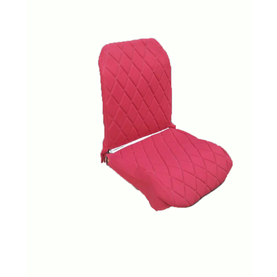 Original seat cover set for front R seat (2 round angles) in red cloth Charleston Citroën 2CV-2