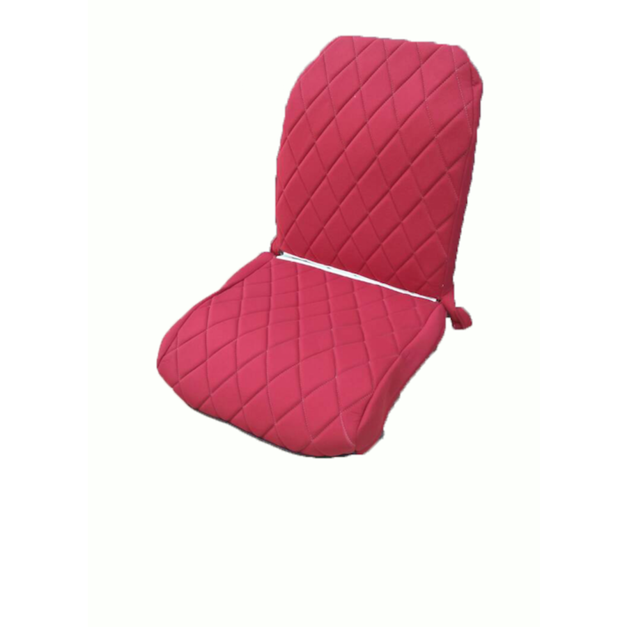 Original seat cover set for front R seat (2 round angles) in red cloth Charleston Citroën 2CV-3