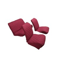 thumb-Original seat cover set for rear bench in red cloth Charleston Citroën 2CV-1