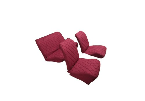 2CV Original seat cover set for rear bench in red cloth Charleston Citroën 2CV