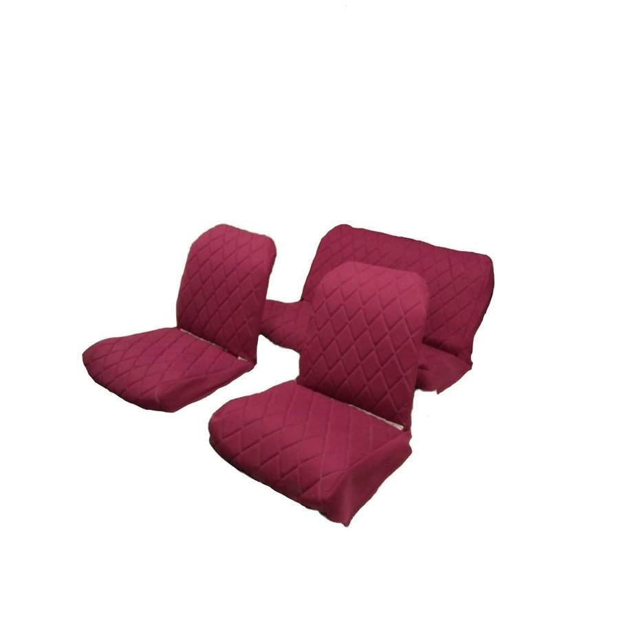 Original seat cover set for rear bench in red cloth Charleston Citroën 2CV-2
