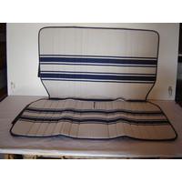 thumb-Original seat cover set for rear bench in white/blue cloth Transat / France 3 Citroën 2CV-1