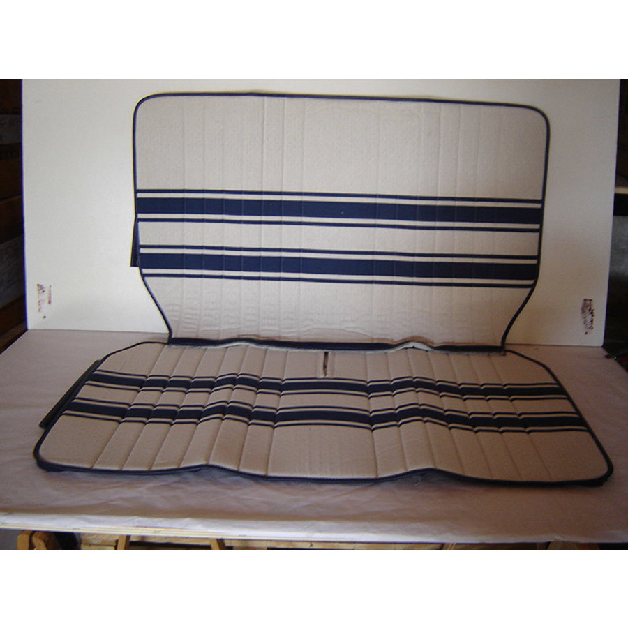 Original seat cover set for rear bench in white/blue cloth Transat / France 3 Citroën 2CV-2