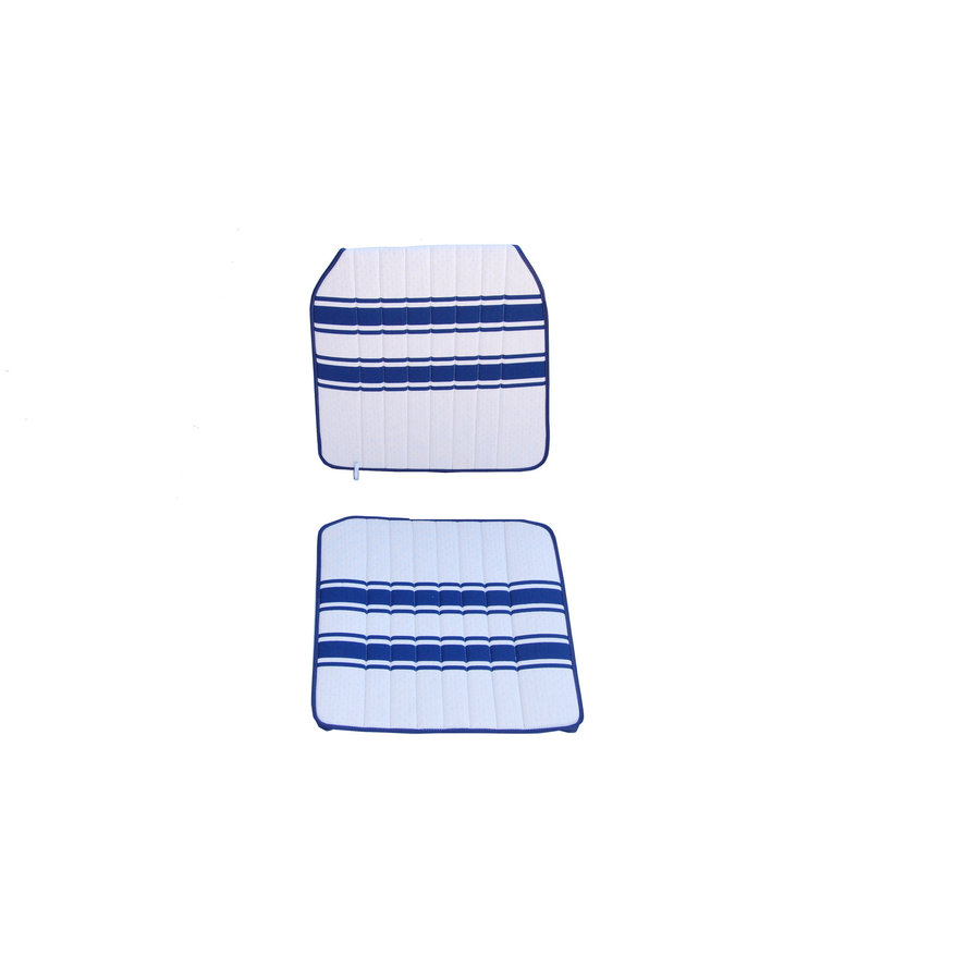 Original seat cover set for front R seat (2 round angles) in white/blue cloth Transat / France 3 Citroën 2CV-2