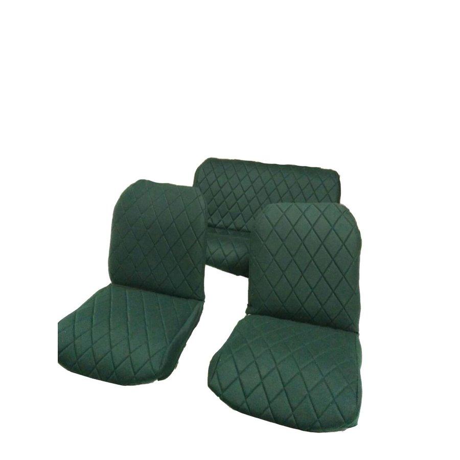 Jeu complet de housse d'origine: 2 sièges avants + 1 banquette AR étoffe vert Charleston Citroën 2CV-1