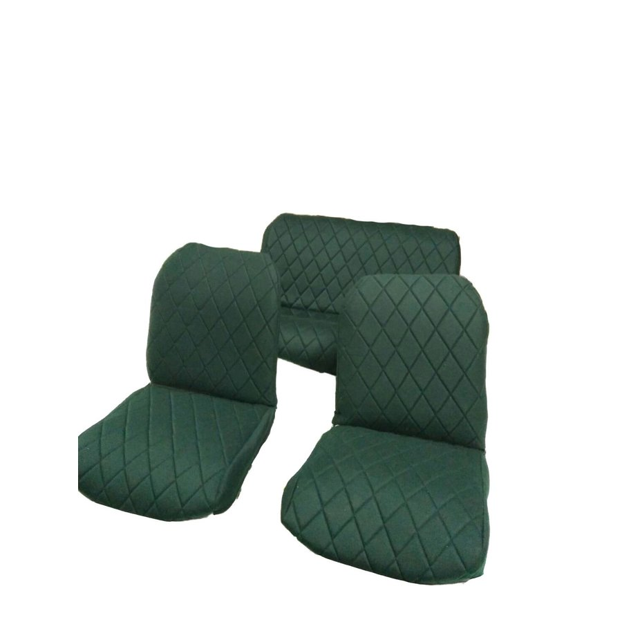 Original seat cover set for rear bench in green cloth Charleston Citroën 2CV-1