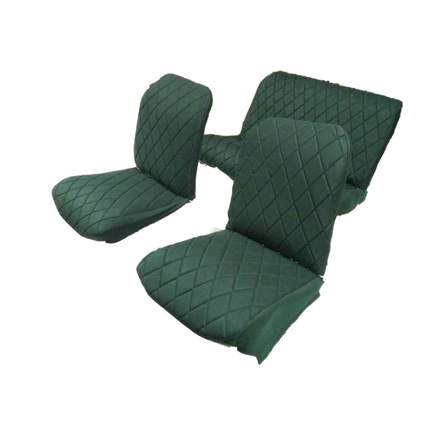 Originele hoes set: 2 voorstoelen + 1 achterbank groen stof Charleston Citroën 2CV-3