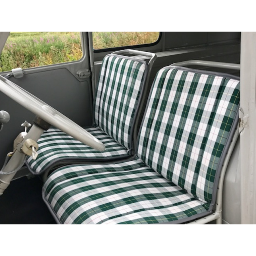 Original seat cover set for seat in green cloth (Exact Copie of the Original Scottish Design) years '50 '60 Citroën 2CV-1