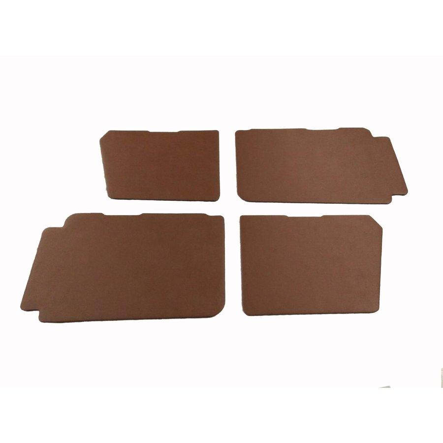 Set of 4 door panels in brown leatherette (with plastic upper part) Citroën 2CV-2