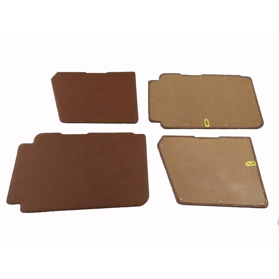 Set of 4 door panels in brown leatherette (with plastic upper part) Citroën 2CV-4