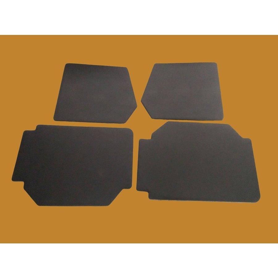 Set of 4 door panels in black leatherette (without plastic upper part) Citroën 2CV-2