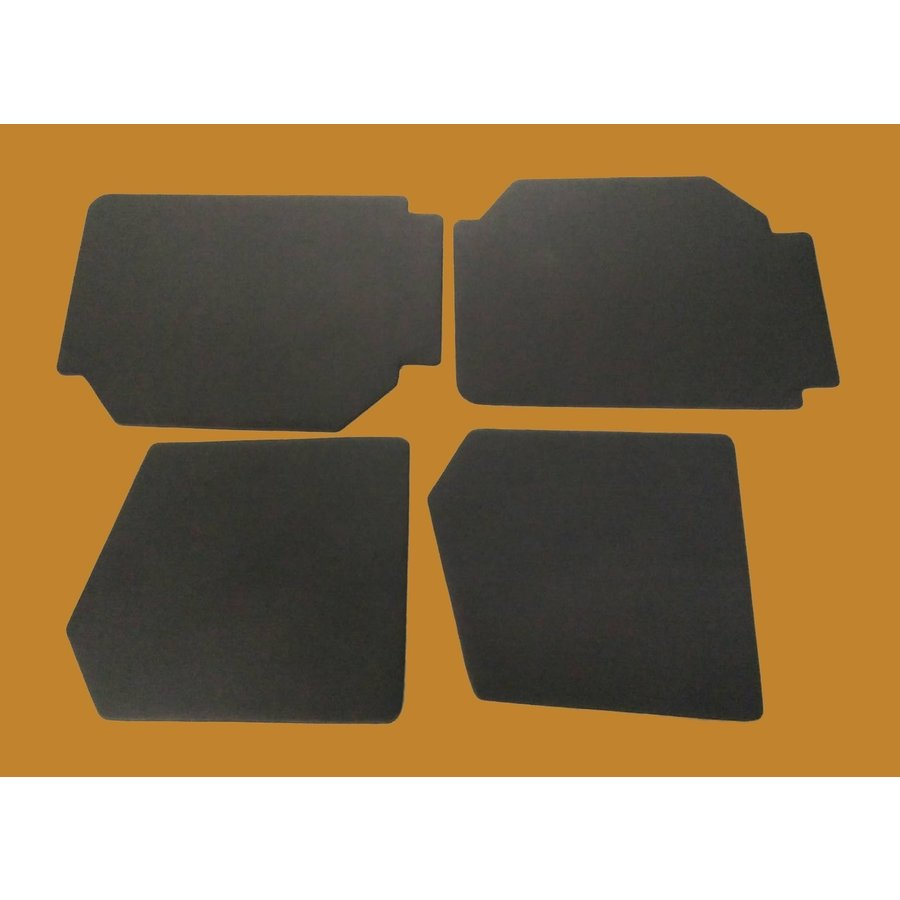 Set of 4 door panels in black leatherette (without plastic upper part) Citroën 2CV-4