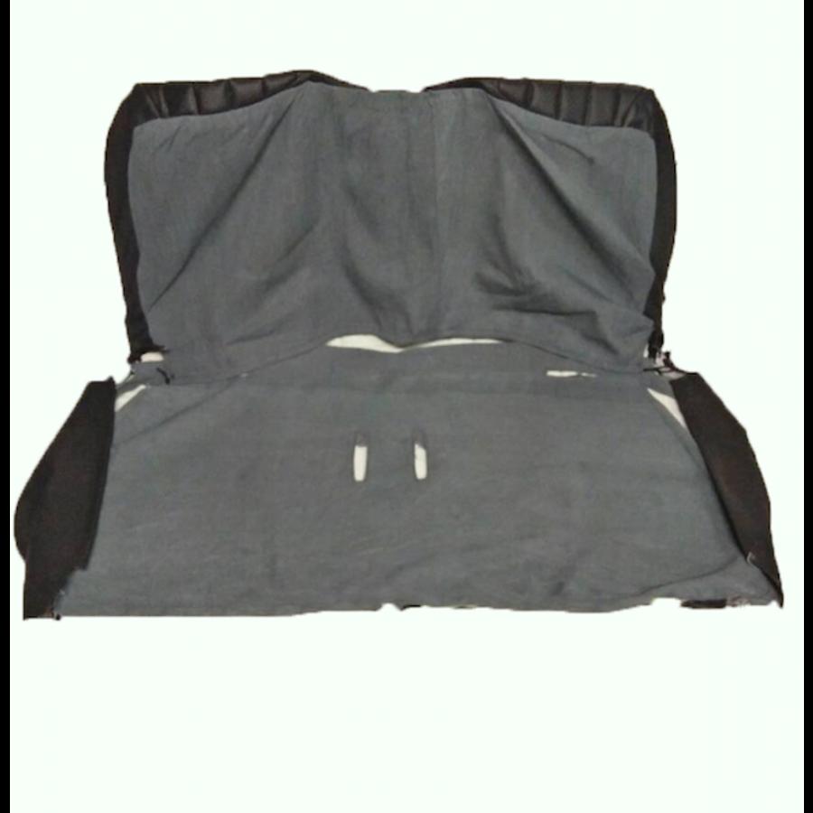 Original seat cover set in black leatherette for foldable rear bench Dyane Citroën 2CV-2