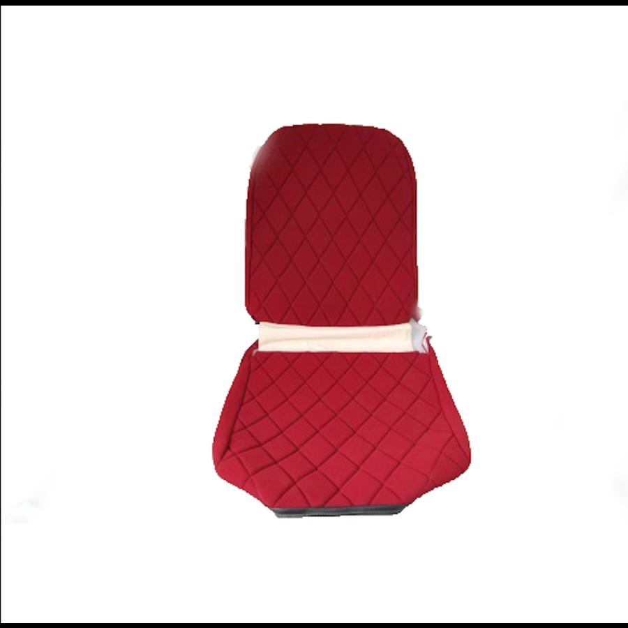 Voorstoelhoes L rood stof Charleston naaipatroon 2 ronde hoeken Citroën 2CV-1