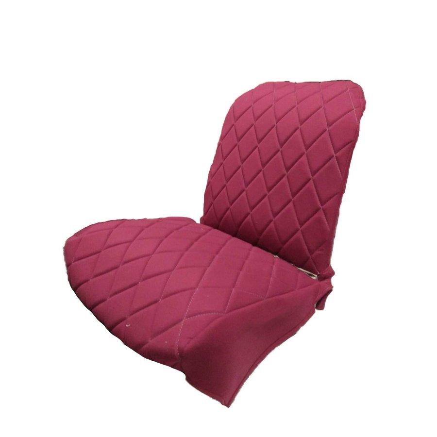 Voorstoelhoes L rood stof Charleston naaipatroon 2 ronde hoeken Citroën 2CV-2