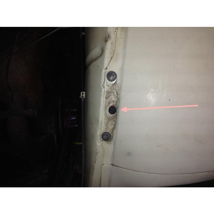 Stootrubbertje Dyane onder motorkap op spatbord Citroën 2CV-2
