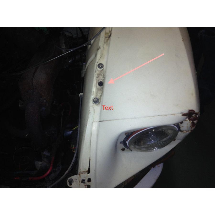 Stootrubbertje Dyane onder motorkap op spatbord Citroën 2CV-3