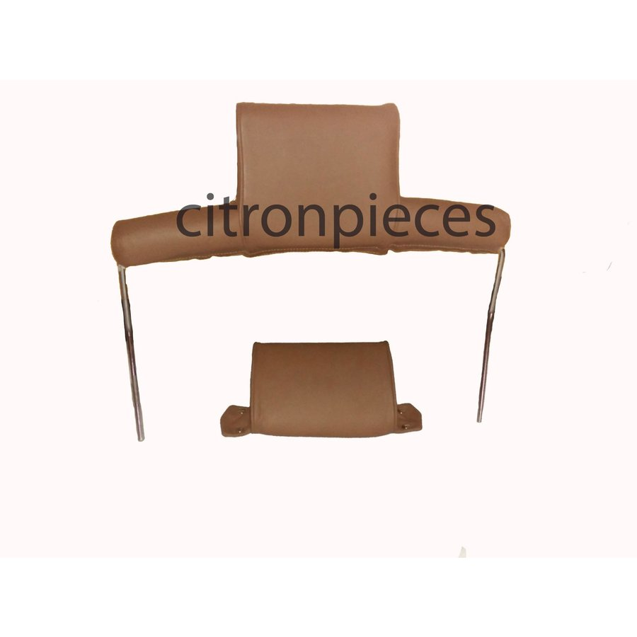 Head rest with brown leather trimming wide model 2 pieces Citroën ID/DS-1
