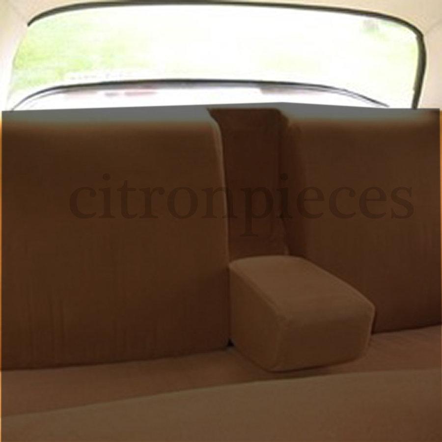 Garniture pour banquette AR en étoffe caramel unie pour assise 1 pièce dossier 4 pièces imprimé gauffre Citroën ID/DS-1