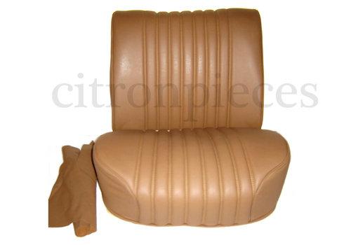 Dossier à ressort pour siège AV à manette tournante preparé pour repose-tête (modèle étroit) mousse pour assise pièce de dos inclue garni de cuir marron Citroën ID/DS
