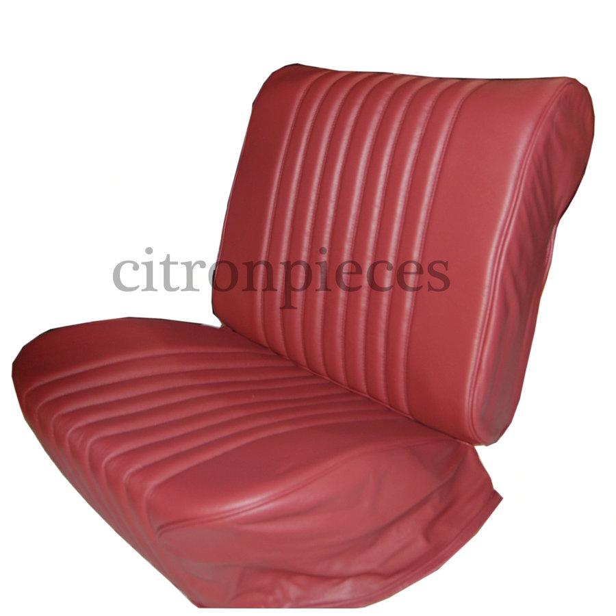 Original Sitzbezug Satz für Vordersitz lederbezogen rot (Sitz Rückenlehne Abschlussfüllung für Feder-Rücken) Citroën ID/DS-1
