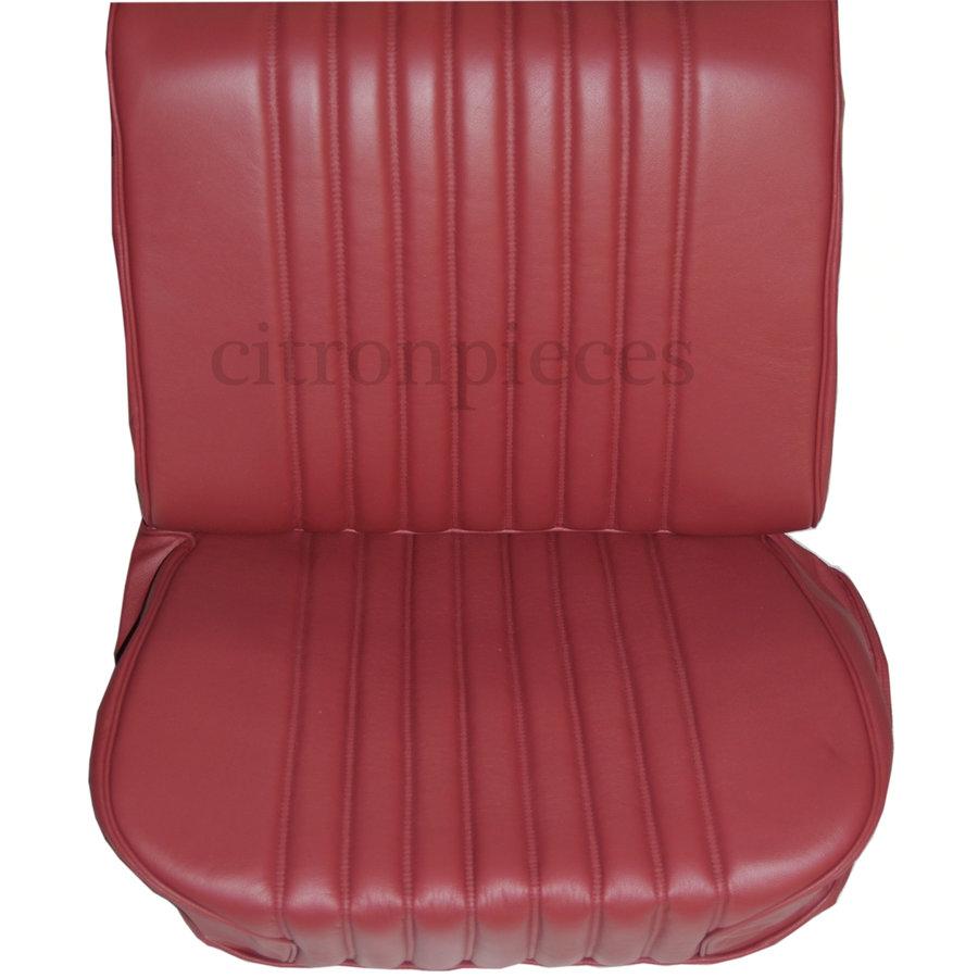Original Sitzbezug Satz für Vordersitz lederbezogen rot (Sitz Rückenlehne Abschlussfüllung für Feder-Rücken) Citroën ID/DS-2