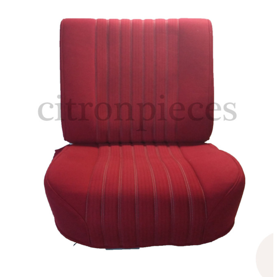 Front seat in red cloth (central part 2 tones) mounted on base frame without weel without back cover plate without preparation for head rest 68 Citroën ID/DS-1