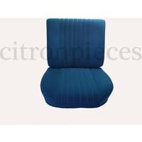 Vordersitzbezugsatz für Pallas (montiert auf neuem Rückenrahmen mit Schaumstoff vorbereitet für schmale Kopfstützen blauer Stoff (Mittelteil in2 Tönen) für Sitz- und Rückenteil mit Abschlußverkleidung (weißliches Kunstleder) Citroën ID/DS