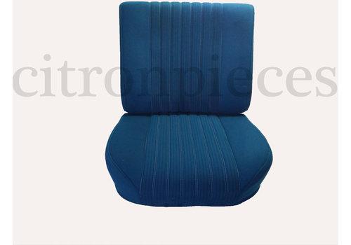 Jeu de Garniture pour PA AV avec un nouveau montage de dossier en mousse préparé pour appui tête modèle étroit en tissu bleu (partie central em 2 tons) Assise +dos+panneau AR (simili blanchâtre) Citroën ID/DS