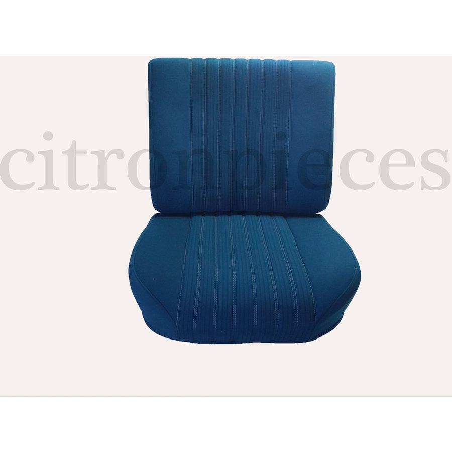 Vordersitzbezugsatz für Pallas (montiert auf neuem Rückenrahmen mit Schaumstoff vorbereitet für schmale Kopfstützen blauer Stoff (Mittelteil in2 Tönen) für Sitz- und Rückenteil mit Abschlußverkleidung (weißliches Kunstleder) Citroën ID/DS-1