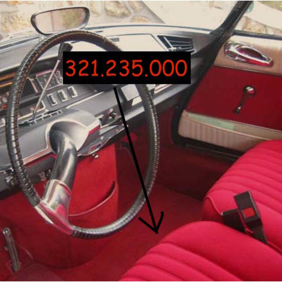 Cover set red fabric Pallas (WITHOUT WHITE  LEATHERETTE PIECE BEHIND FRONT SEAT) '69 Citroën ID / DS-3