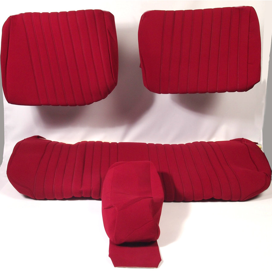 Cover set red fabric Pallas (WITHOUT WHITE  LEATHERETTE PIECE BEHIND FRONT SEAT) '69 Citroën ID / DS-4