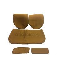 Garniture pour banquette AR en étoffe jaune unie pour assise 1 pièce dossier 4 pièces imprimé gauffre Citroën ID/DS