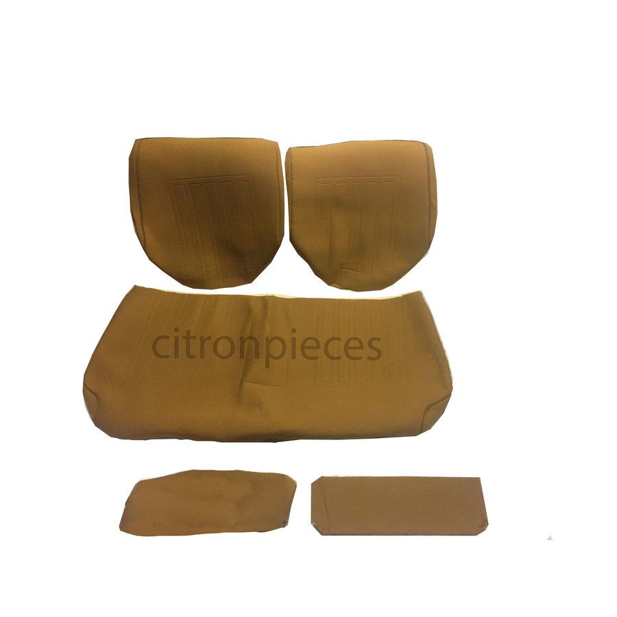 Garniture pour banquette AR en étoffe jaune unie pour assise 1 pièce dossier 4 pièces imprimé gauffre Citroën ID/DS-1