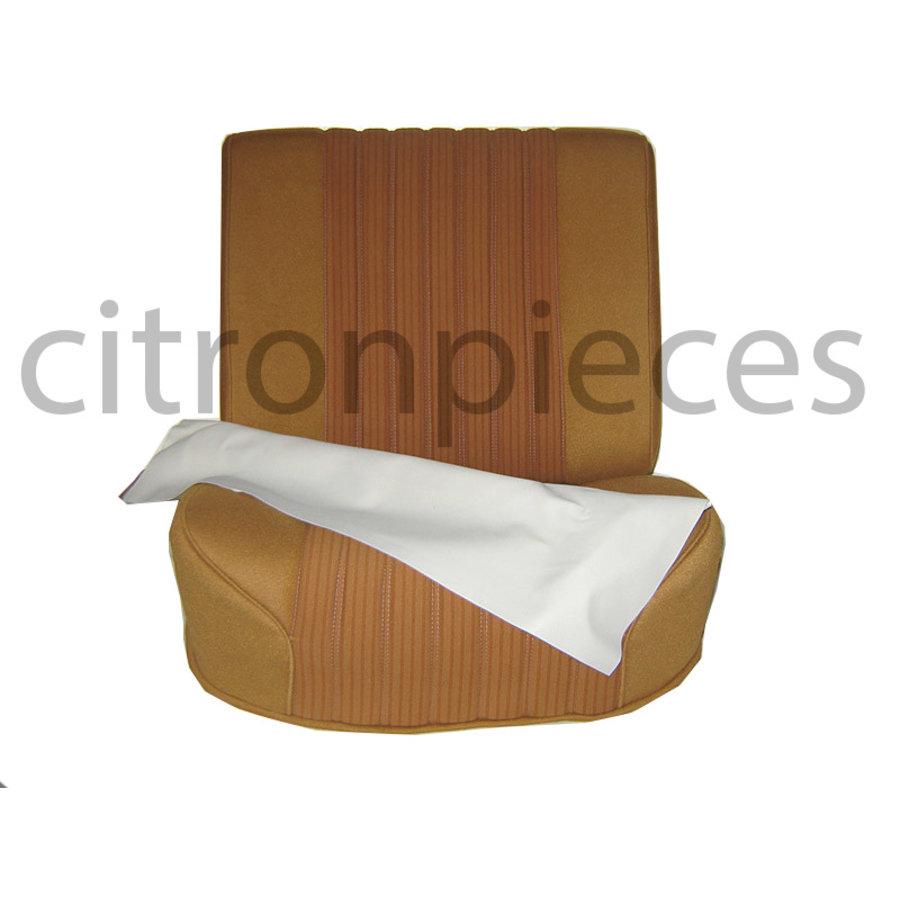 Vordersitzbezugsatz für Pallas (montiert auf neuem Rückenrahmen mit Schaumstoff vorbereitet für schmale Kopfstützen goldfarbener Stoff (Mittelteil in 2 Tönen) für Sitz- und Rückenteil mit Abschlußverkleidung (weißliches Kunstleder) Citroën ID/DS-1