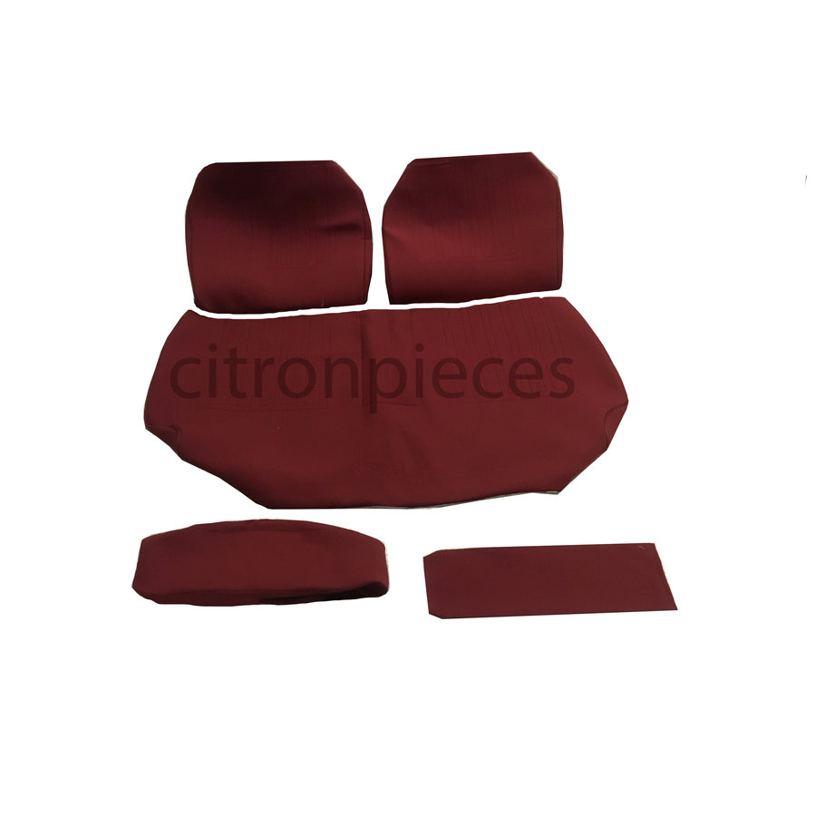 Garniture pour banquette AR en étoffe rouge unie pour assise 1 pièce dossier 4 pièces imprimé gauffre Citroën ID/DS-1