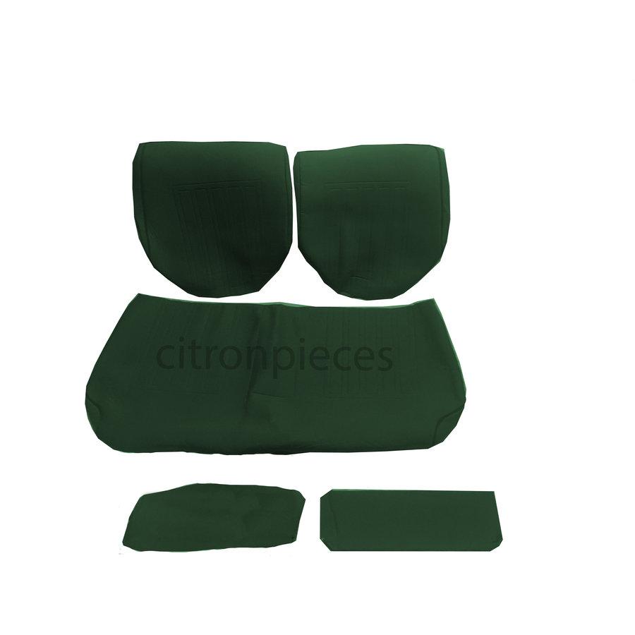 Garniture pour banquette AR en étoffe vert unie pour assise 1 pièce dossier 4 pièces imprimé gauffre Citroën ID/DS-1