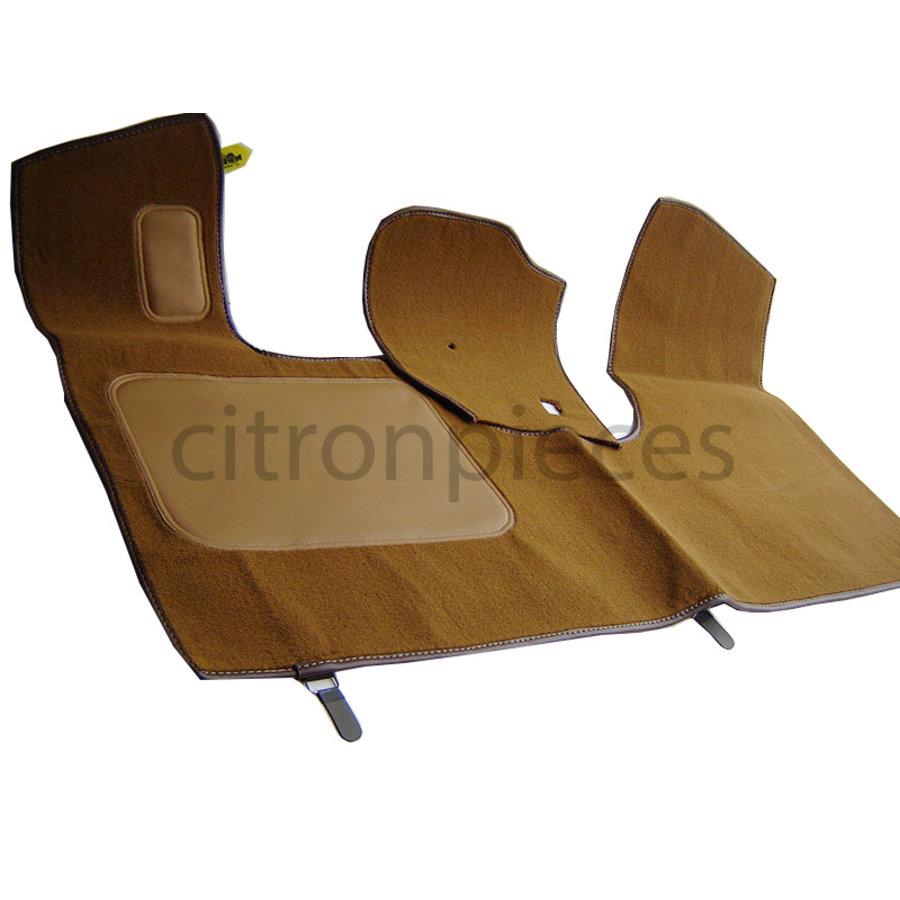 Bodenmatte vorne braun Originalreplikat (Pallas) mit Bezug für Pedalboden ohne Schaum Citroën ID/DS-1
