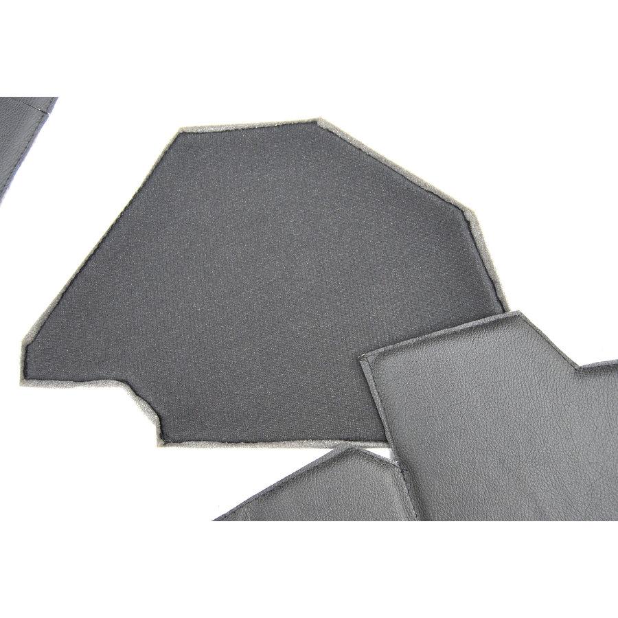 Bekleding schutbord, gelijkend materiaal, verbeterde pasvorm voor Citroen 2CV zwart  (6 delige set)  1976- eind-6