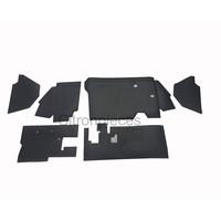 thumb-Bekleding schutbord, gelijkend materiaal, verbeterde pasvorm voor Citroen 2CV zwart  (6 delige set)  1976- eind-1