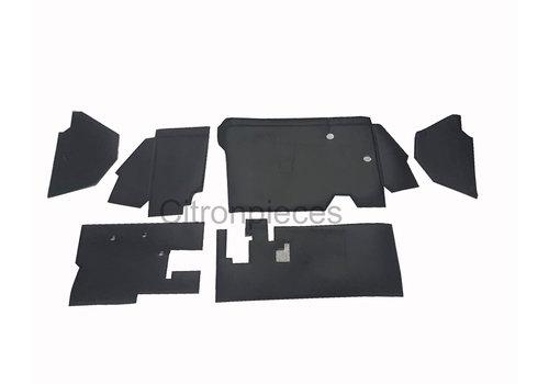 2CV Bekleding schutbord, gelijkend materiaal, verbeterde pasvorm voor Citroen 2CV zwart  (6 delige set)  1976- eind