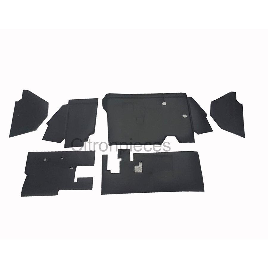 Bekleding schutbord, gelijkend materiaal, verbeterde pasvorm voor Citroen 2CV zwart  (6 delige set)  1976- eind-1